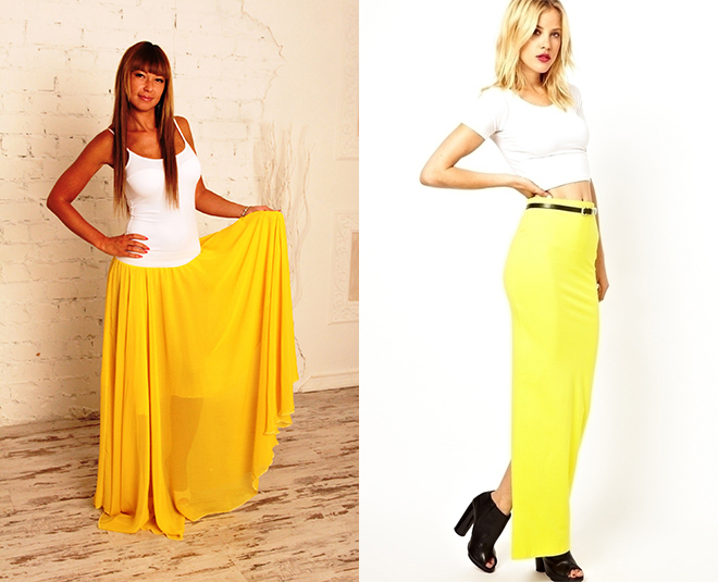 Žltá sukňa v podlahe a biela vrchná časť popruhov - úspešná kombinácia  tejto sezóny. V chladnej sezóne pridajte cibuľovú kožu čiernu sako a  hodvábny šál. 274abadeff
